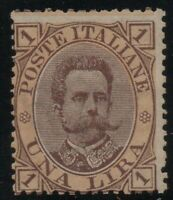 1889 REGNO UMBERTO LIRE 1 N.48 ARANCIO G.I.** MNH