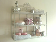 Vintage Style Metal Wall Shelf Unit Display Rack Kitchen Bathroom Cabinet Ivory