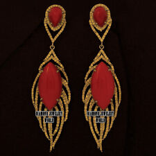 Studded Silver Feather Earring Jewelry Victorian 4.95cts Rose Cut Diamond Coral