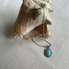 Vintage 925 Sterling Silver Turquoise Pendant Chain Necklace
