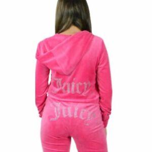 Juicy Couture Women's Bling Logo Velour Pink Hoodie Zip Jacket - Small