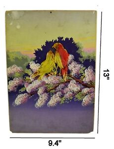 Vintage Hand Painted Scene Bird Love Making With Feather Artwork. i53-43 AU