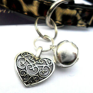 Heart & Bell Cat Charm Clip on Collar Pendant Fancy Pet Charm New in packaging
