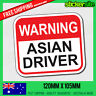 WARNING ASIAN DRIVER Sticker Decal - FUNNY JDM DRIFT CAR 4x4 4WD Sticker JOKE