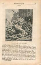 Tableau Nature Morte Lièvres Chien Chasse Valkenburg GRAVURE ANTIQUE PRINT 1853