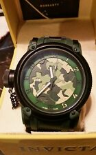 Mens Invicta 1197 Swiss Made Russian Diver Green Army Camouflage Watch