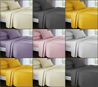 Soft Plain Dyed 100% Flannelette Fitted Sheets And Flat sheets with Pillow Cases