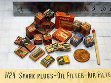 21 Color Kartons in 1:24 für Diorama - spark plugs - oil filter - air filter TOP