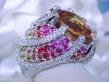 $3980 SUNNY SPLENDOR! 14K 13.7GR 82 DIAMOND CITRINE ORANGE PINK SAPPHIRE RING