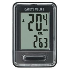 Cateye Velo 9 Cycling Computer; 9 Functions - CC-VL820 - Black - New