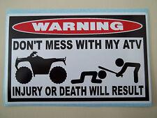 FUNNY WARNING STICKER ATV QUAD BIKE ATC WHEEL MUD SLUT FAIRING FENDER DECAL 668