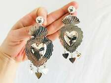Large Taxco Sacred Heart Earrings. Milagro. Sterling Silver. Mexico. Frida Kahlo