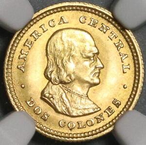 1926 NGC MS 65 Costa Rica 2 Dos Colones Gold 15K Philadelphia Coin (21080101C)