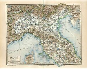 1895 NORTHERN ITALY MILAN ROME VENICE GENOVA VERONA TURIN CORSICA Antique Map