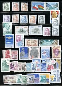 LOT 91413 COLLECTION OF SEVENTY FIVE USED  STAMPS FROM 1970'S CHILE