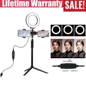 6.2'' 3-Color LED Ring Light w/stand phone holder for Social Media Beauty Shoot