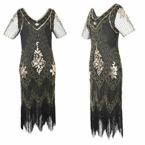1920s Vintage Sequins Dress Flapper Great Gatsby Fringed Cocktail Party Dresses