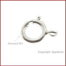 10 Solid Sterling Silver Clasps Spring Ring Clasp 6mm For DIY Necklace Bracelet