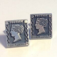 F&S FENWICK & SAILORS ONE PENNY BLACK POSTAGE STAMP STERLING SILVER CUFF LINKS