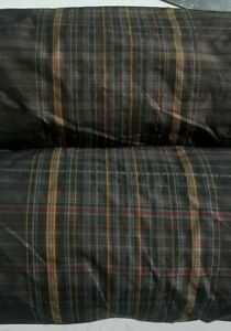 CHECKED TAFFETA FABRIC BLACK AND BROWN COLOUR-SOLD BY THE METRE
