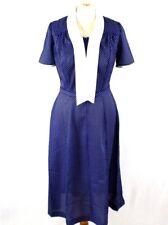 DAMART Polka Dot Rockabilly Tea Dress 12 Blue Office Work Casual Vintage Retro
