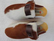 Schweden HOLZ CLOGS - Pantolette Gr.35 BRAUN, Echt Leder- Kuhfell (15.5.13.90)