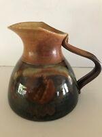 Studio Pottery Tenmoku Drip Ceramic Pitcher/Vase