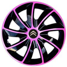 "4 x14"" rueda Adornos Tapacubos Ajuste CITROEN C1 C2 Saxo Negro/Rosa nuevo logotipo"