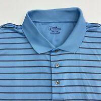 PGA Tour Golf Polo Shirt Men's 2XL XXL Short Sleeve Blue Black Striped Polyester