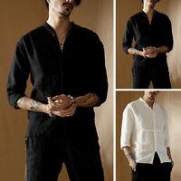 Kaftan Casual Shirt Men's Half Sleeve Slim Fit V Neck Blouse Vintage Kurta Tops