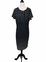 Liz Jordan Shift Dress Plus Size 1XL Black White Diamond Pleated Corporate Work