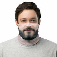 Funny Bearded Man Face Mask Beard Neck Gaiter Washable Reusable Face Mask