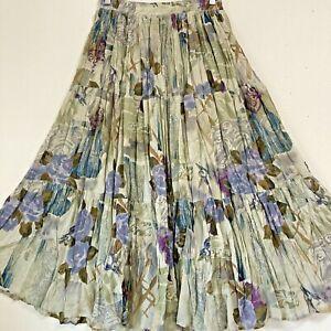 Vintage CHU Maxi Skirt Semi Sheer Gauze Unlined Mint Green Rose Floral Size M