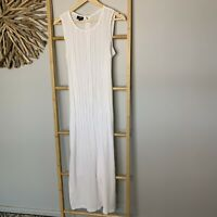 Latte Size 16 XL White Maxi Dress Tank Pleated Women's
