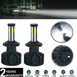 2x H7 White LED Headlight Bulb Kits 6-Sides COB 72W For Hyundai Sonata 2014-2011