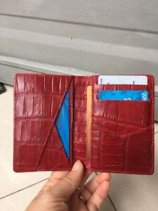 Crocodile Leather Credit Card Holder DOUBLE SIDE Genuine Alligator RED