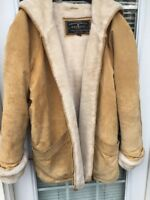 EXPRESS Genuine Leather Camel Suede with Fur Lining & Hood Jacket WOMENS SZ L