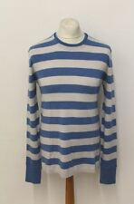 BURBERRY BRIT Men's Blue & Grey Striped Knitted Crew Neck Wool Blend Jumper L