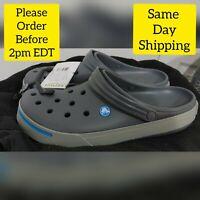 100% Authentic Crocs Crocband II Clogs, Gray & Blue Men's Size 11 Women Size 13