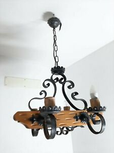 Chandelier ceiling lamp Wrought Iron and Wood Beam vintage Chandelier
