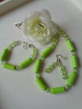 Schmuckset Kette + Armband + Ohrhaken grün/silber  UNIKAT