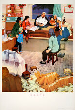 Original Vintage Poster Chinese Cultural Revolution Family Around Table 1974