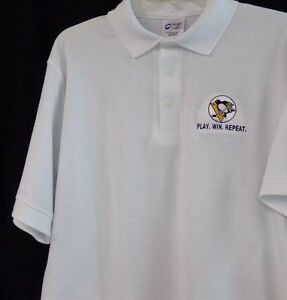 Pittsburgh Penguins Stanley Cup Play Win Repeat Mens Polo S-6X, LT-4XLT New