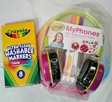 Pink Crayola Kids Volume-limiting Headphones with extra pens *New*