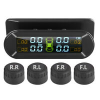 LCD Solar Kabellos TPMS Auto Reifendruckkontrollsystem + Externe 4 Sensoren