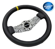NRG RST-021R-WAVE-Y Japanese Wave Hydro-Dipped Leather Steering Wheel