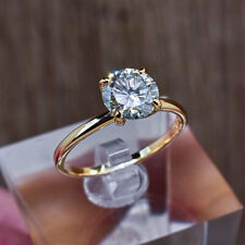 Round Women's 2.00 Ct Diamond Wedding Band Set Solid 18K Yellow Gold Size N O