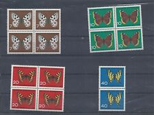 Germany stamps. 1962 Child Welfare Butterflies Insects sets in blocks MNH (A169)