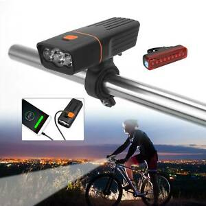 FULLY RECHARGEABLE BICYCLE / SUPER BRIGHT BIKE LIGHTS SET LIGHT WATERPROOF NEW