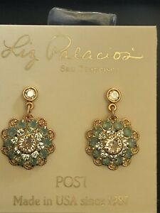 Liz Palacios Large Flower Earrings -  Swarovski Pacific Opal Mix Crystals 14